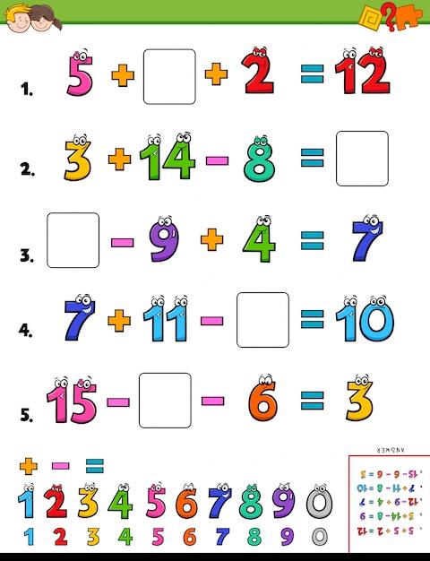 Mathematische berechnungsseite für kinder Premium Vektoren