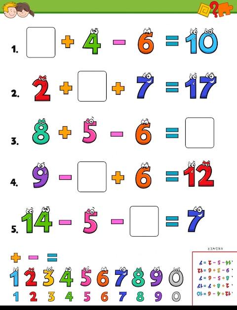 Mathematische rechenaufgabe für kinder Premium Vektoren