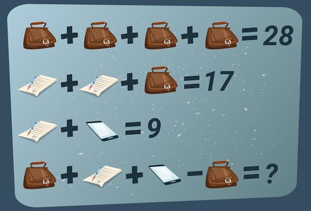 Mathematisches additions-subtraktions-puzzlespiel Premium Vektoren