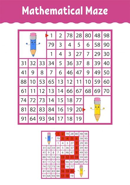 Mathematisches labyrinth. Premium Vektoren