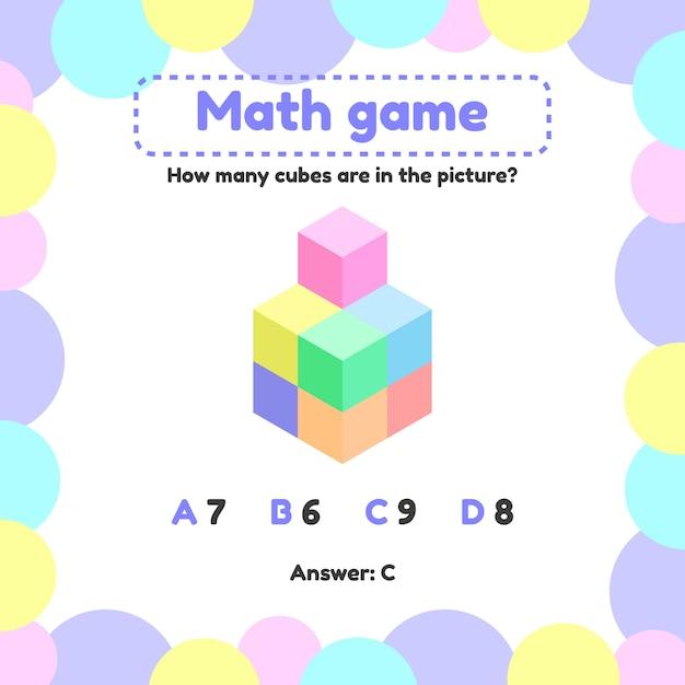 Mathematisches logikspiel für kinder im vorschul- und schulalter. Premium Vektoren