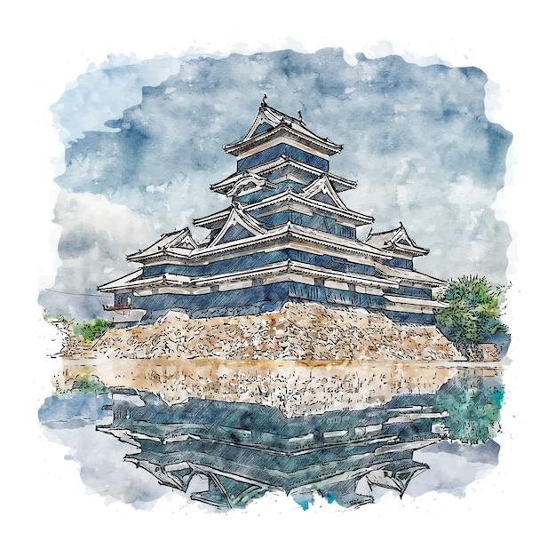 Matsumoto castle japan aquarell skizze hand gezeichnete illustration Premium Vektoren