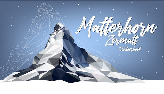 Matterhorn zermatt schweiz polygonfarbe Premium Vektoren