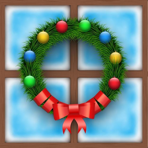 Mattiertes fenster mit weihnachtskranz. frohe weihnachten weihnachtskarte. quadratisches holzfenster. Premium Vektoren