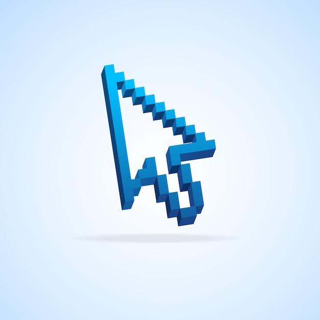 Mauspfeil pixelcursor isoliert auf hellblau Premium Vektoren