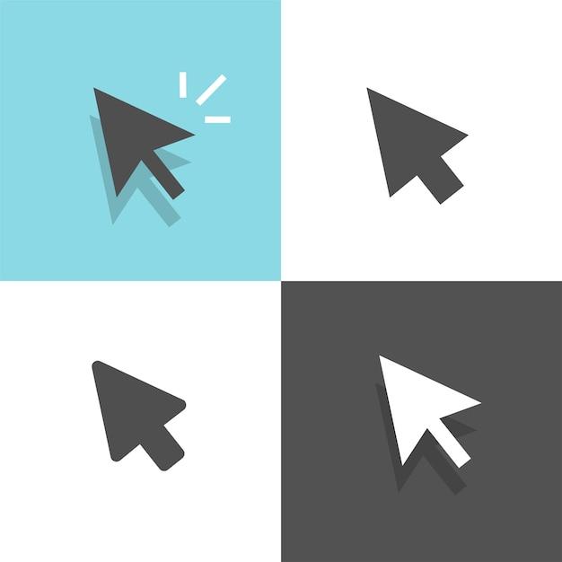 Mauszeiger pfeil klick set klick cursor weiße und schwarze farbe illustration clipart bild Premium Vektoren
