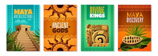 Maya-zivilisations-karikatur-plakate Kostenlosen Vektoren
