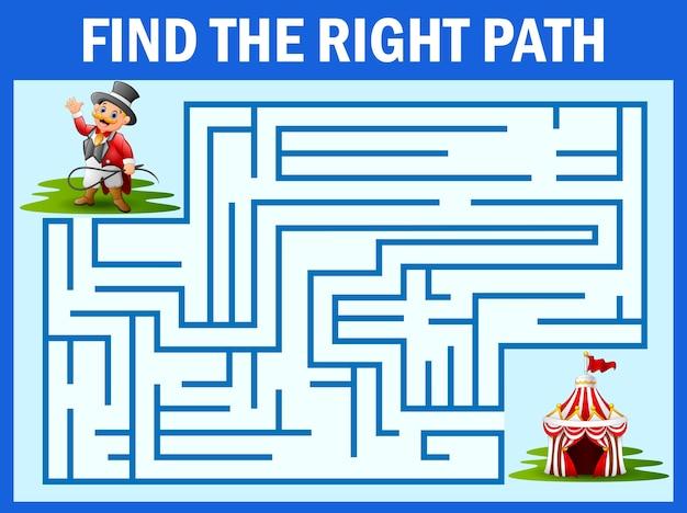 Maze-spiel finden zirkus-handler weg zum zelt Premium Vektoren