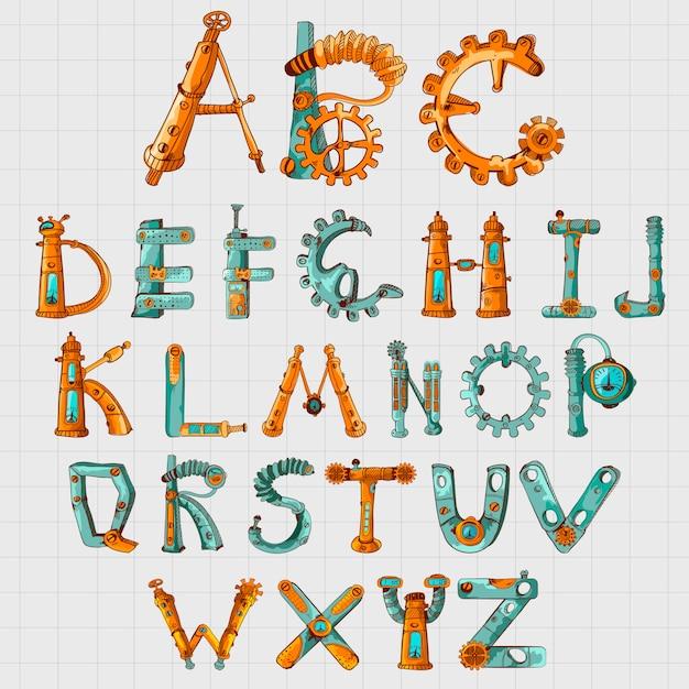 Mechaniker alphabet farbig Kostenlosen Vektoren