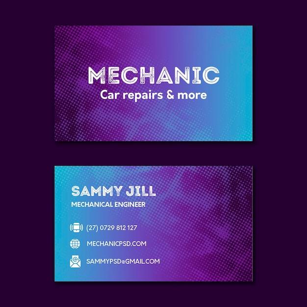 Mechaniker autoreparatur doppelseitige visitenkarte Premium Vektoren