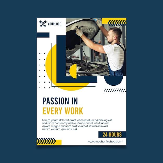 Mechaniker poster vorlage Kostenlosen Vektoren