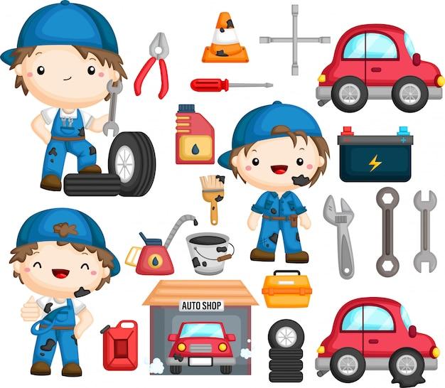 Mechaniker und damit verbundener gegenstand Premium Vektoren