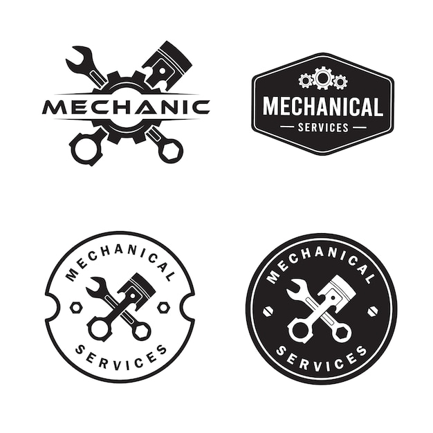 Mechanikerlogosatz, dienstleistungen, technik, reparatur. Premium Vektoren