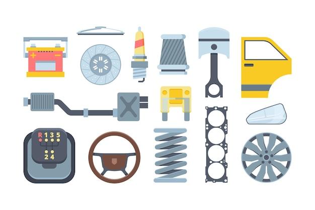 Mechanische autoersatzteile flache abbildungen gesetzt. automatische komponentensammlung. scheinwerfer, radkappe, batterie. automobilmontage. Premium Vektoren