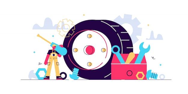 Mechanische illustration. winziges tech-beruf personen-konzept. professioneller job-service für maschinenreparatur, wartung, reparatur oder produktion. industrielle werkstattarbeit mit technischen autowerkzeugen. Premium Vektoren