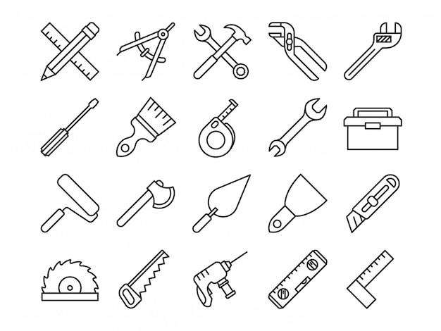 Mechanische werkzeuge linie symbole Premium Vektoren