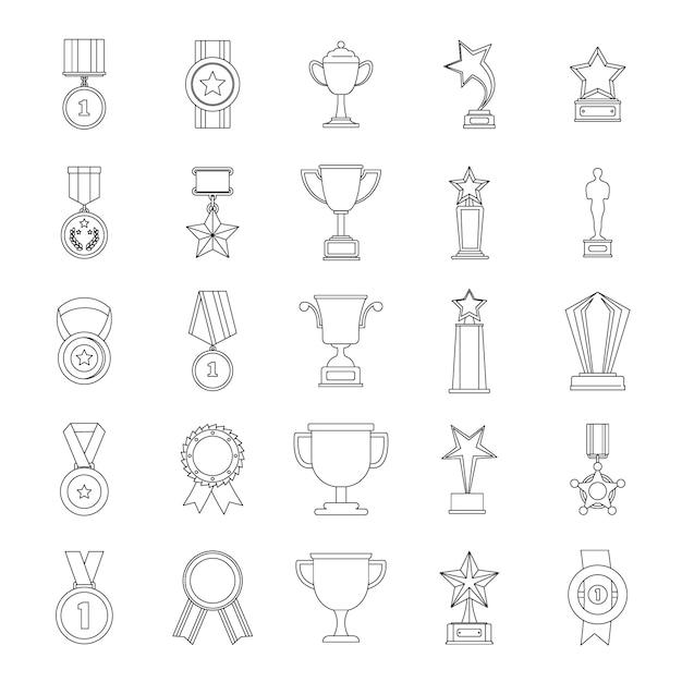 Medaille award icon set Premium Vektoren