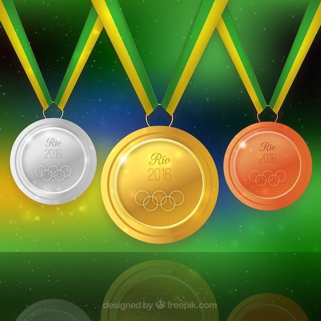 Medaillen der olympischen spiele hintergrund Kostenlosen Vektoren