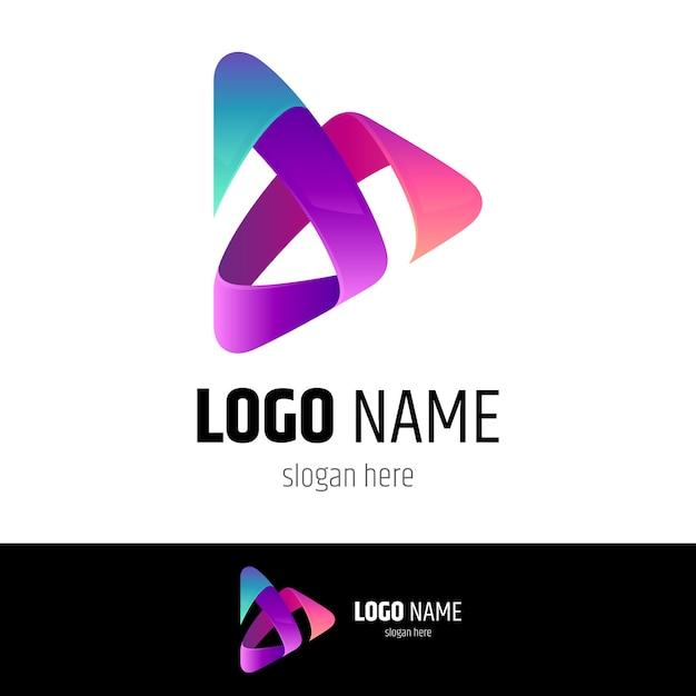 Media play logo-konzept Premium Vektoren
