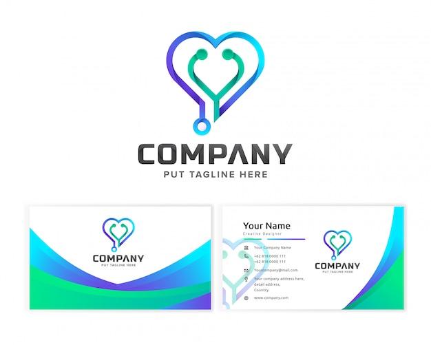 Medical hospital logo vorlage für unternehmen mit visitenkarte Premium Vektoren