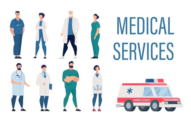 Medical services set mit cartoon krankenhauspersonal Premium Vektoren