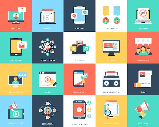 Medien flache vektor-icons set Premium Vektoren
