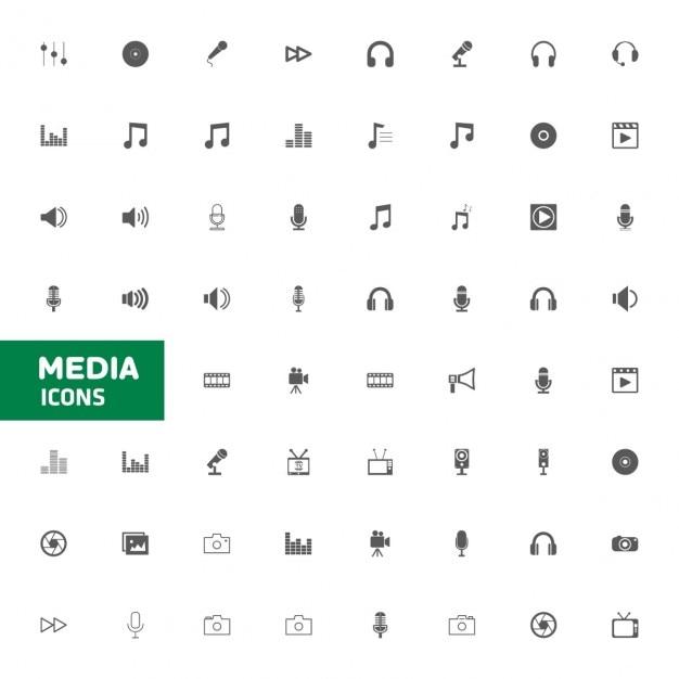 Medien icon multimedia-icon-set vektor-illustration Kostenlosen Vektoren