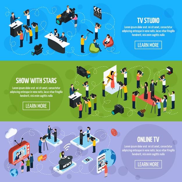 Medien-tv isometrische horizontale banner Kostenlosen Vektoren