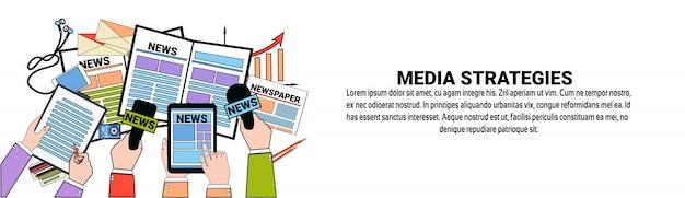 Medienstrategien marketingkonzept horizontale banner vorlage Premium Vektoren