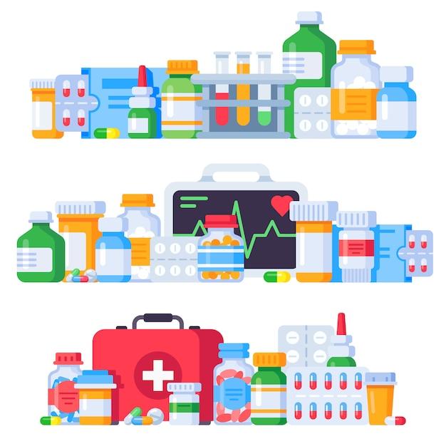Medikamente. medizinpillen, flasche mit pharmazeutischen medikamenten und antibiotika-pille. lokalisierter illustrationssatz der apotheke drogen Premium Vektoren