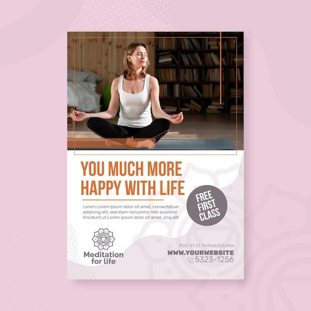 Meditation & achtsamkeit flyer vertikal Kostenlosen Vektoren