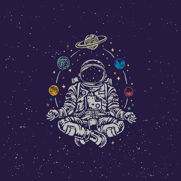 Meditation astronaut vintage old school illustration Premium Vektoren