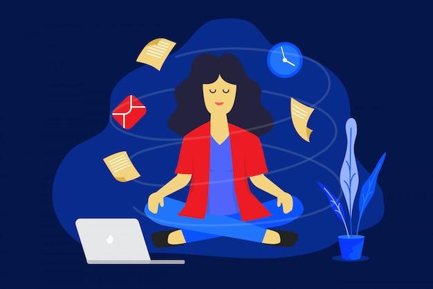 Meditation frau bei der arbeit. geschäftsarbeitsentwurfskonzept Premium Vektoren