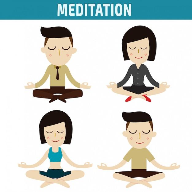 Meditation menschen charakter design Premium Vektoren