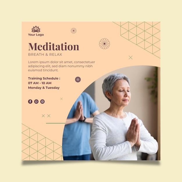 Meditation und achtsamkeit doppelseitige visitenkarte Kostenlosen Vektoren