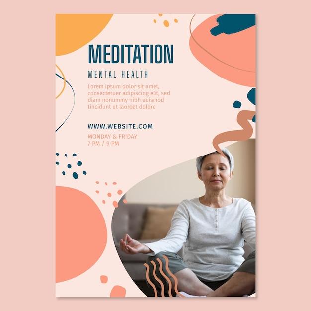 Meditation und achtsamkeit flyer vertikal Kostenlosen Vektoren