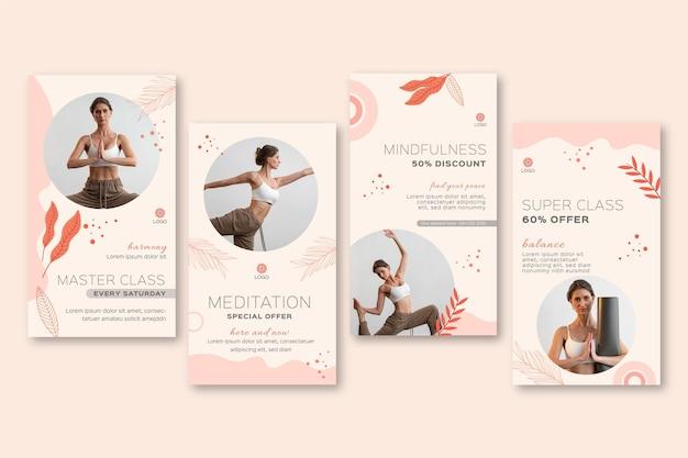 Meditation und achtsamkeit instagram geschichten sammlung Kostenlosen Vektoren