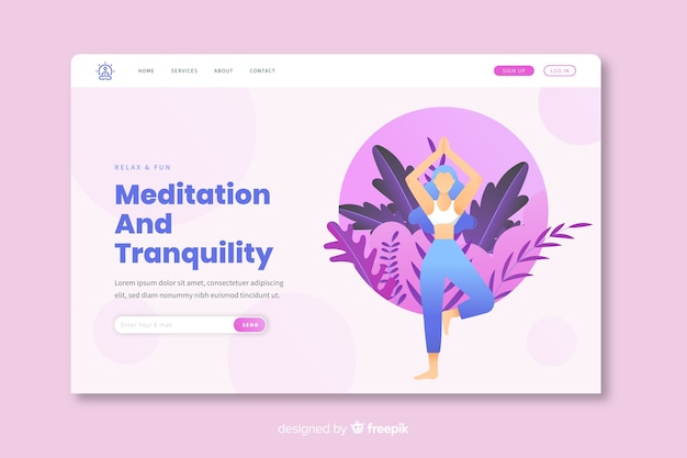 Meditation und entspannung landingpage-vorlage Kostenlosen Vektoren