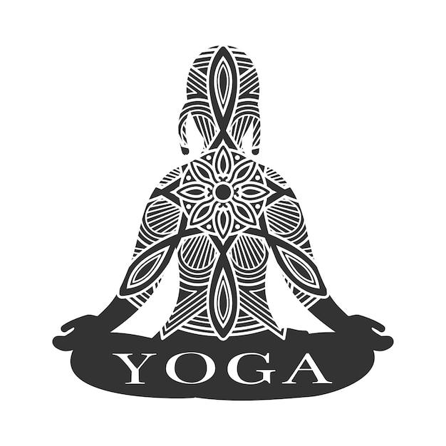 Meditation weibliche silhouette. yoga studio logo vektor Premium Vektoren