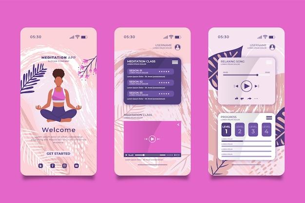 Meditations-app-oberfläche Kostenlosen Vektoren