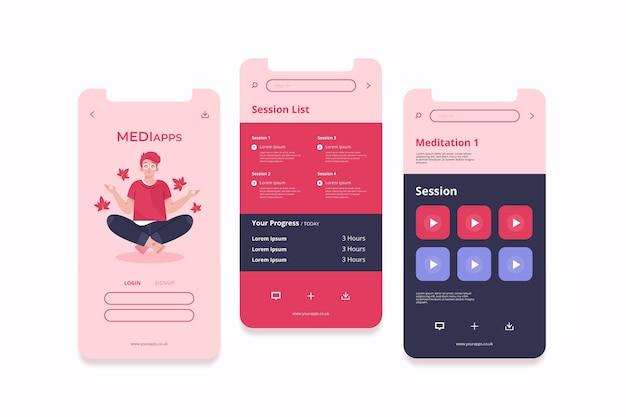 Meditations-app-schnittstellenkonzept Kostenlosen Vektoren