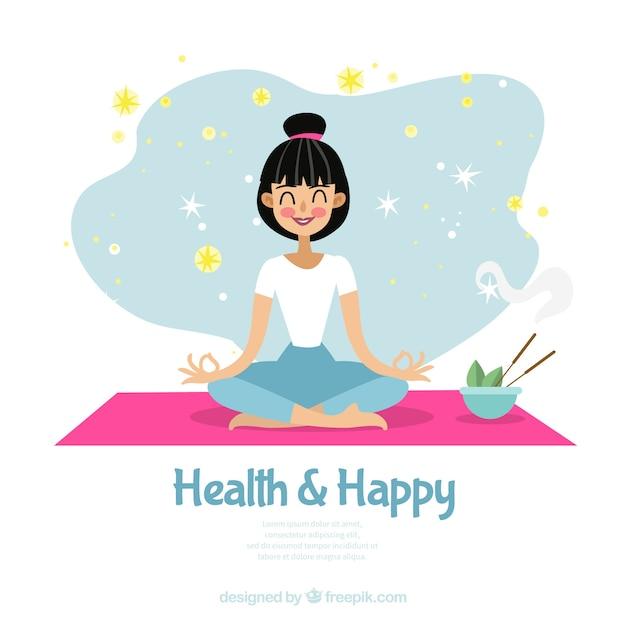 Meditationshintergrund mit frau Kostenlosen Vektoren