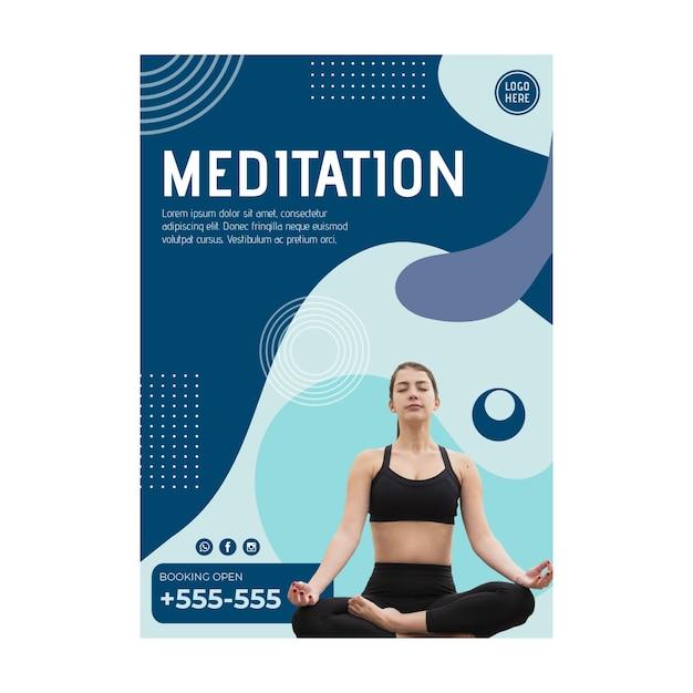 Meditationsklasse flyer vorlage mit foto Kostenlosen Vektoren