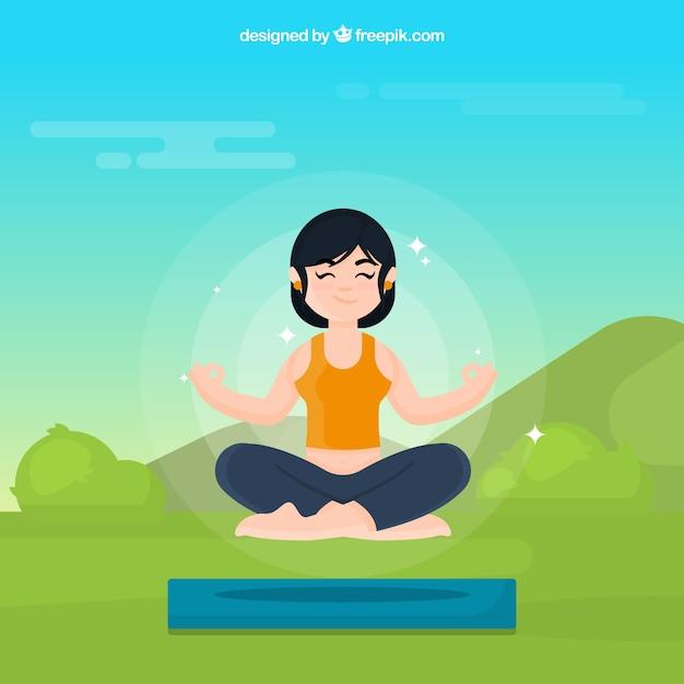 Meditationskonzept mit frau Kostenlosen Vektoren