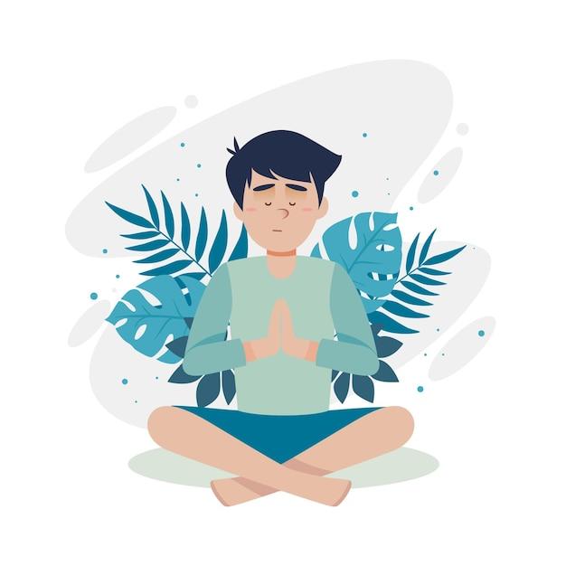Meditationskonzept mit mensch und blättern Kostenlosen Vektoren