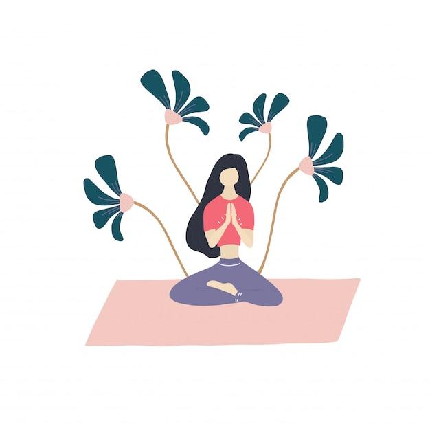 Meditationsmädchen und blumen Premium Vektoren