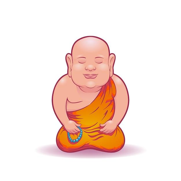 Meditierender mönch Premium Vektoren