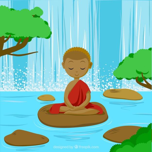 Meditierendes konzept mit ethnischer art Kostenlosen Vektoren