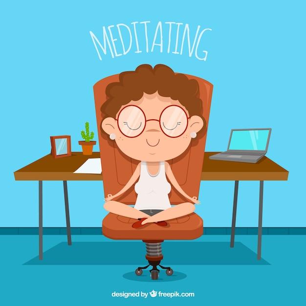 Meditierendes konzept mit geschäftsfrau Kostenlosen Vektoren