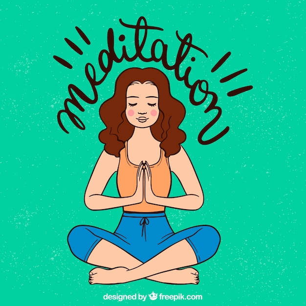 Meditierendes konzept mit hand gezeichneter frau Kostenlosen Vektoren